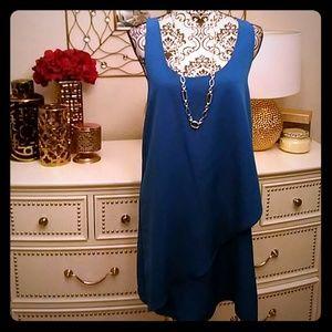 Blue drape dress